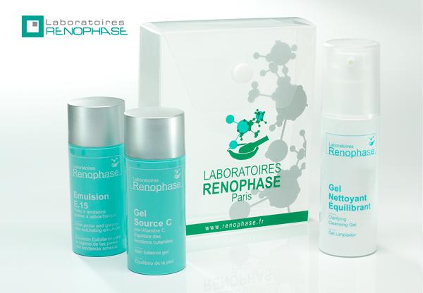 Набор анти-акне: гель очищающий + гель-концентрат витамина с + эмульсия ренофаз 15, renophase - наборы для ухода за лицом.